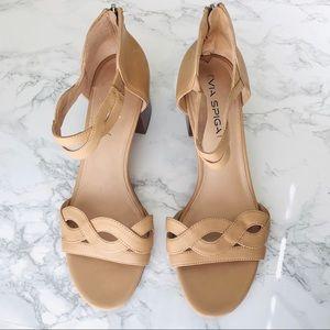 VIA SPIGA Nude Janel Block Heel Sandal 9M